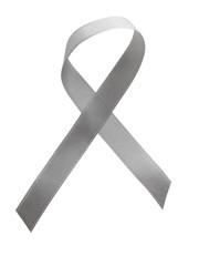 Grey ribbon awareness isolated on white background