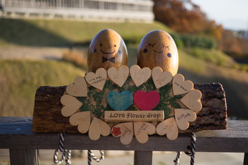 Wooden egg characters made from thing wood also known as Kicoro in Mishima Skywalk
