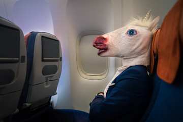 Unusual passenger in elegant suit sits alone inside the aircraft and ready to departure. Young man in funny mask travels by plane. Strange traveler in air voyage. Unicorn enjoys his flying