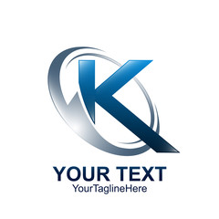 Initial letter K logo template colored blue grey circle wave swoosh design for business and company identity