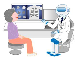 人工知能のロボット医師から診察を受ける患者。