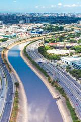Marginal Tiete, Sao Paulo, Brazil. Aerial View.