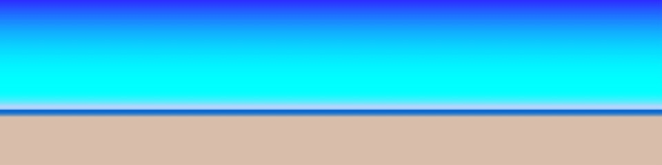 Blue and tan colors rendered to look like a beach with sand and water under a bright blue sky