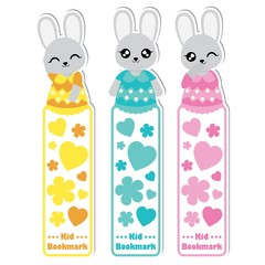 Vector cartoon illustration with cute colorful bunny girls, flowers, and love suitable for kid bookmark label design, bookmark tag and sticker set