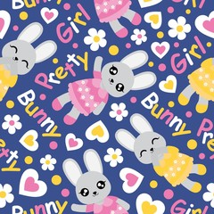 Seamless pattern with cute bunny girl, flowers, and love shape on blue background vector cartoon suitable for kid birthday wallpaper design, scrap paper and kid fabric clothes background