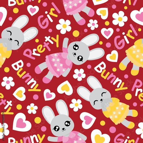 Seamless pattern with cute bunny girl flowers and love shape on seamless pattern with cute bunny girl flowers and love shape on red background vector mightylinksfo