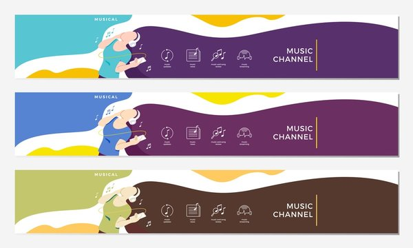 music channel youtube cover with girl hearing headphone illustration flat vector background