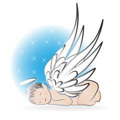 Baby angel sleeping logo icon wallpaper vector template