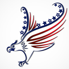 Bird USA Flag line art logo vector