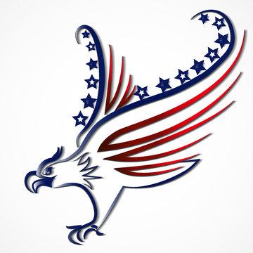 Bird USA Flag line art logo vector