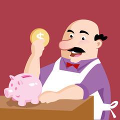 shopkeeper depositing coin in money bag finance cash money
