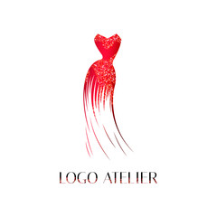 Logo for Atelier, women's clothing store. Vector template of the brand for the fashion designer. Element for Studio sewing and tailoring. Red evening dress with sequins