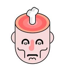 Cut head and bone in brain. Slice skull