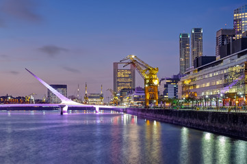 Puerto Madero and the Puente de la mujer in Buenos Aires, Argentina, after sunset