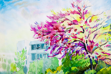 Watercolor landscape painting colorful of Wild Himalayan Cherry flowers.