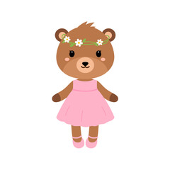 Cute bear in dress in modern flat style. Vector.