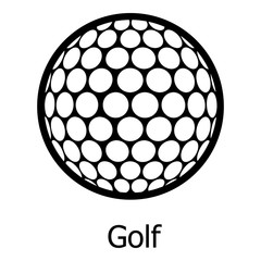 Golf ball icon, simple black style