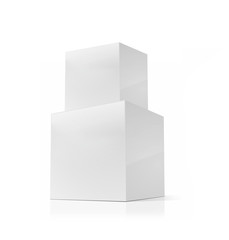 blank packaging white cardboard boxes isolated