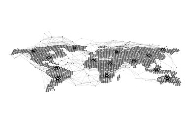 World map, internet connection lines in technology concept on white, 3d render of planet earth