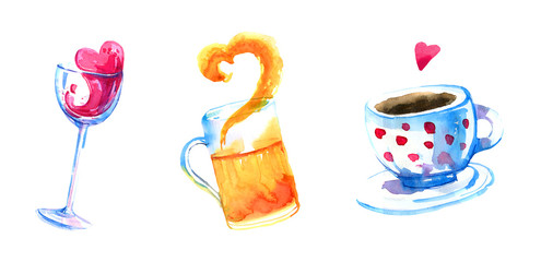 Wine, beer and coffee hand drawn watercolor set for posters and cards