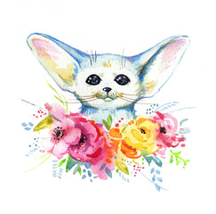 Watercolor hand drawn illustration of cute white fennec fox in colorful flowers for kids cards, prints, textile and posters