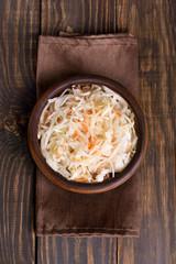 Homemade sauerkraut with carrots