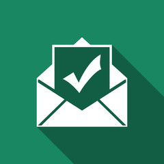 Envelope with document and check mark icon isolated with long shadow. Successful e-mail delivery, email delivery confirmation, successful verification concepts. Flat design. Vector Illustration
