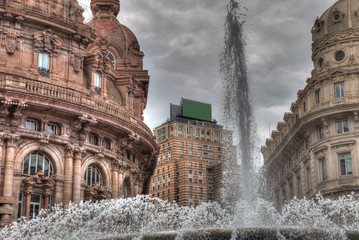 image of the Piazza De Ferrari in Genoa in Italy with the great fountain