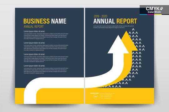 Abstract vector modern flyers brochure / annual report /design templates / stationery with white and yellow arrow on gray background in size a4