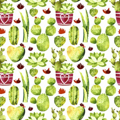 Watercolor cactus seamless pattern. Pattern with cactus, succulents, cactus in pots.  Perfect for you postcard design, invitations, projects, wedding card, poster, packaging.