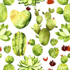 Watercolor cactus seamless pattern. Colorful cactus and succulents.  Perfect for you postcard design, invitations, projects, wedding card, poster, packaging.