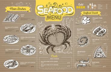 Vintage seafood menu design on cardboard. Restaurant menu