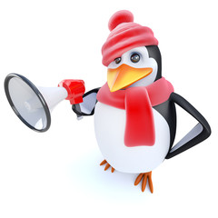 3d Funny cartoon penguin character dressed for winter and holding a megaphone
