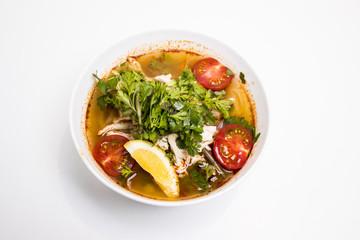 食べ物, スープ, 食事, 野菜, 料理, ダイナー, ボウル, 皿, 料理, ランチ, 緑, ニワトリ, 肉, 健康な, サラダ, 野菜, トマト, おいしい, 美食家, ベジタリアン, 白, エビ, タマネギ, タイ人
