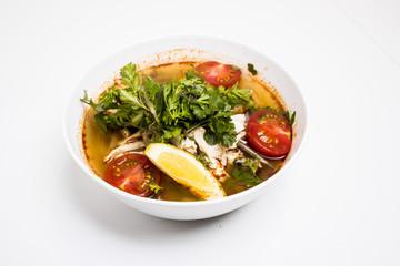 食べ物, スープ, 食事, 料理, 野菜, ボウル, ダイナー, 肉, 料理, ランチ, 皿, 健康な, ニワトリ, 野菜, おいしい, 緑, タイ人, 白, タマネギ, トマト, 熱い, 美食家, ヌードル, エビ, コショウ