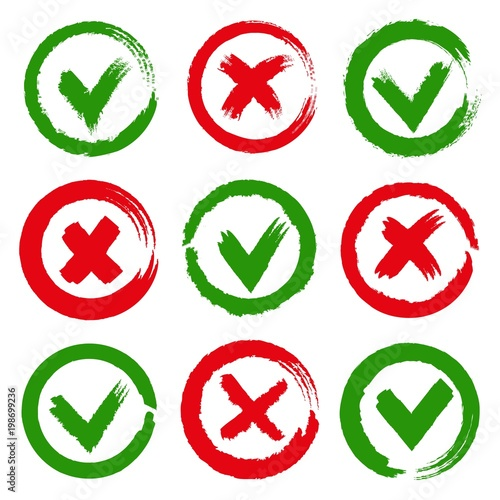 Yes And No Checkmarks Paint Brushes Green Yes Tick And Red Cross X