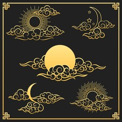 Oriental clouds, sun and moon. Gold sun and moon with clouds in old decorative traditional asian or chinese style vector illustration