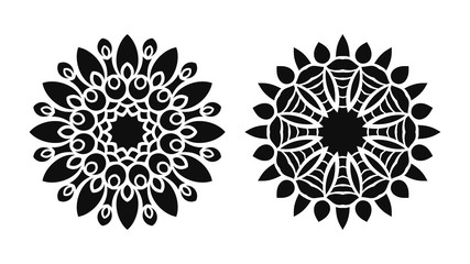 Set of two vector mandalas. Tattoo floral patterns.