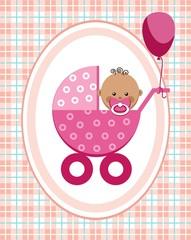 Baby, girl, Africa, greeting card, pink checkered background, vector. A little girl in a pink stroller. A pink balloon is tied to the stroller. Color, flat card. Congratulation. Pink squares