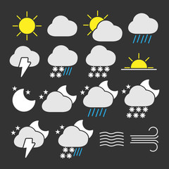 Vector image of set of weather icons.