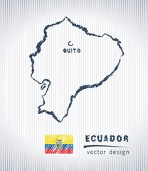Ecuador national vector drawing map on white background