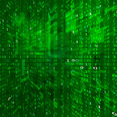 Matrix stream. Binary data coding. Cyberspace technology background. Binary numbers texture.  Vector illustration isolated on green