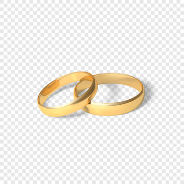 symbol of marriage couple of golden rings. two gold rings. Vector illustration isolated on transparent background