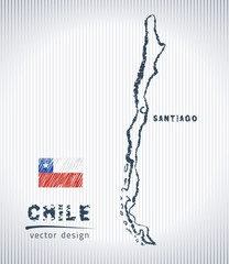 chile vector chalk drawing map isolated on a white background