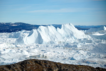 Greenland. Floating icebergs  near the coast of Ilulissa