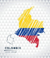 Colombia vector map with flag inside isolated on a white background. Sketch chalk hand drawn illustration