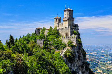 San Marino Fortress is the most famous tourist attraction of San Marino. Scenic view from Monte Titano mountain.