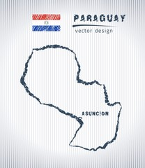 Paraguay vector chalk drawing map isolated on a white background
