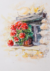 Pot with geraniums in the window of historic stony building.Picture created with watercolors.