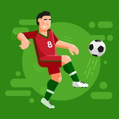 Portuguese football player in a classic dark red uniform controls the ball. Illustration in a flat style.